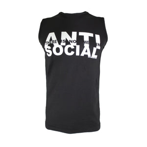 black anti-social sleeveless t shirt by Broken Babies shown on model