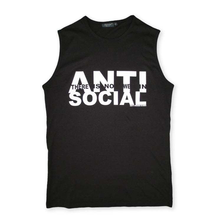 black anti-social sleeveless t shirt by Broken Babies on antipopcult.com