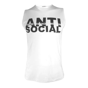 white anti-social sleeveless t shirt by Broken Babies shown on model on antipopcult.com