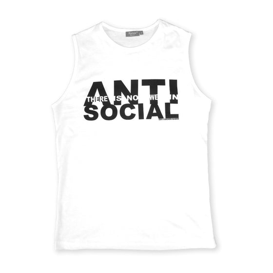 white anti-social sleeveless t shirt by Broken Babies on antipopcult.com