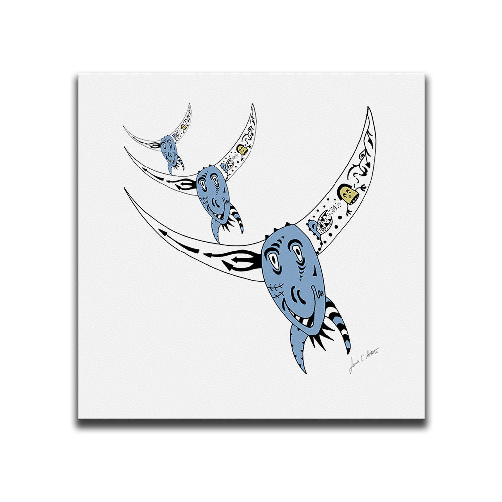 Canvas Wall Art titled Argentine Rodeo featuring an image of a rodeo bull in a surreal style with the colours of the Argentinian flag. Artwork by Louis l'Artiste