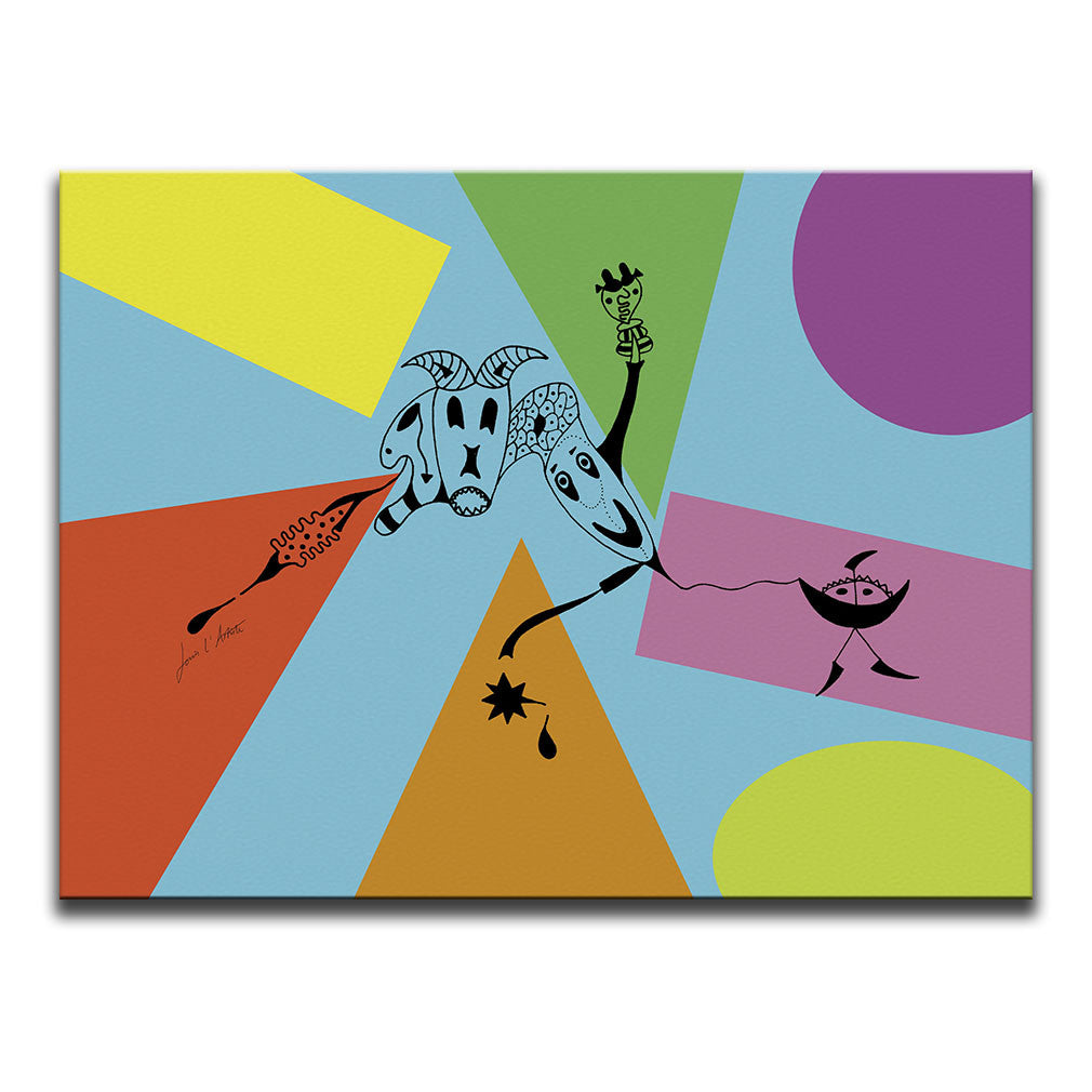 Canvas Wall Art featuring a surreal image depicting attachment drawn in a surrealist style against a multicoloured collage with a blue background. Artwork by Louis l'Artiste