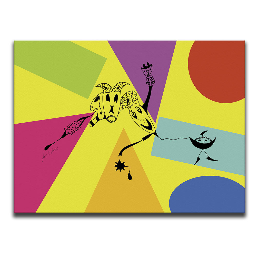 Canvas Wall Art featuring a surreal image depicting attachment drawn in a surrealist style against a multicoloured collage with a yellow background. Artwork by Louis l'Artiste