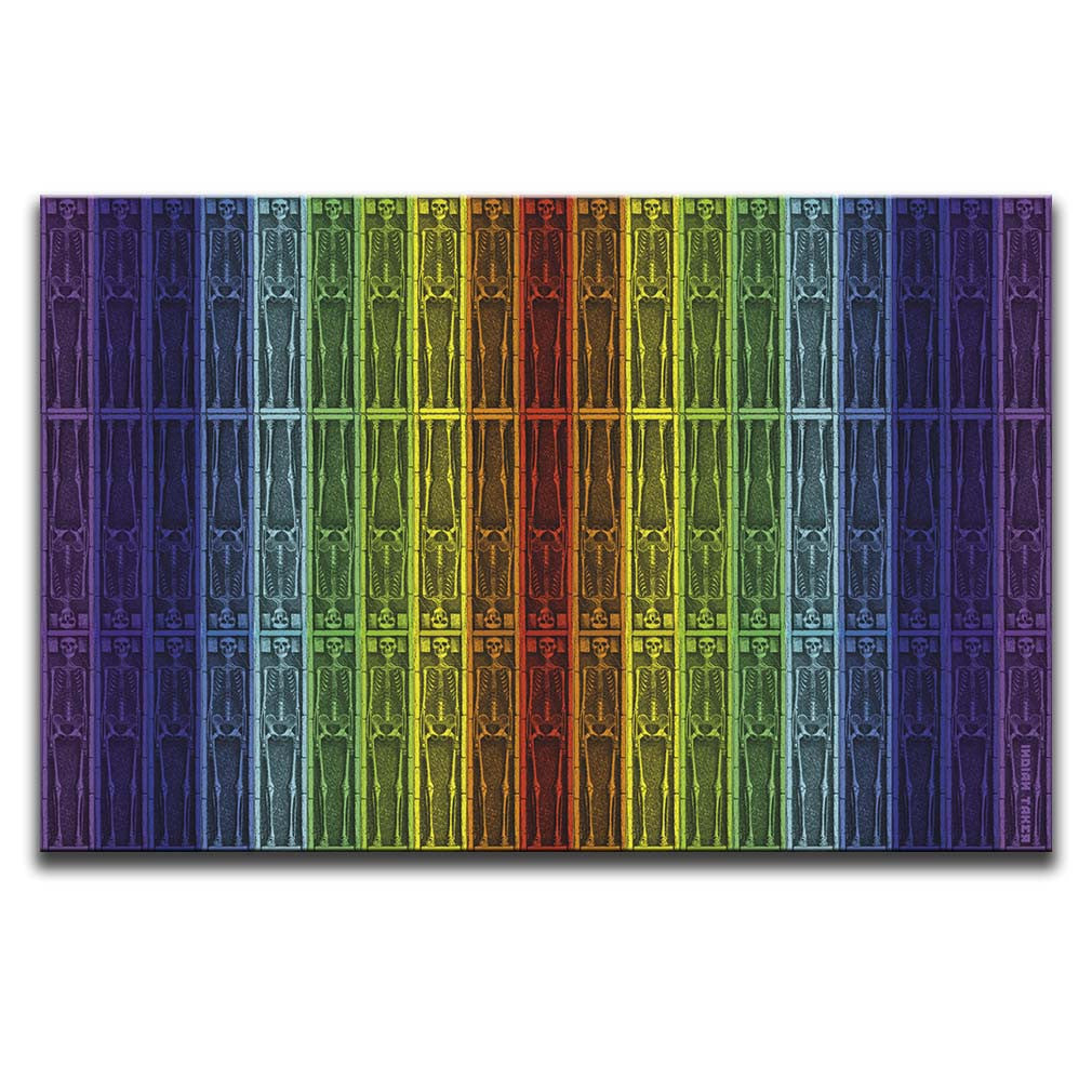 Canvas Wall Art featuring a repeated image of skeletons in a printmaking style set against rainbow vertical stripes. Artwork by Indian Taker