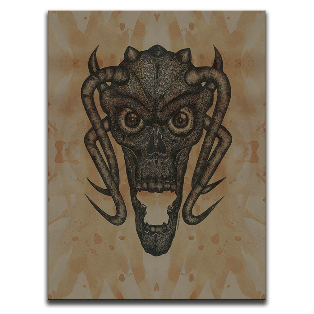 Canvas Wall Art featuring a cross-hatched, horror and dark art image of a demon's face against a brown blood stained background. Artwork by Broken Babies