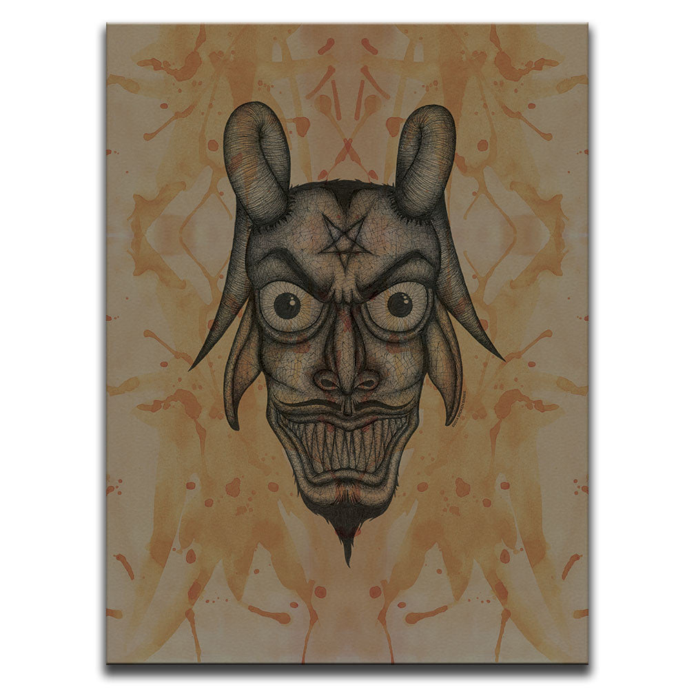 Canvas Wall Art featuring a cross-hatched, horror and dark art image of the Devil's face against a brown blood stained background. Artwork by Broken Babies