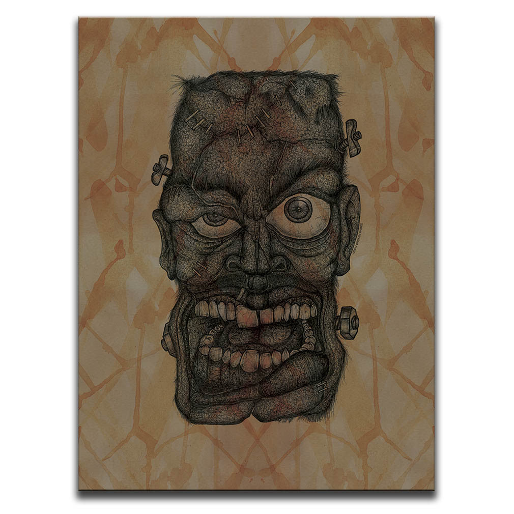 Canvas Wall Art featuring a cross-hatched, horror and dark art image of Frankenstein's Monster's face against a brown blood stained background. Artwork by Broken Babies