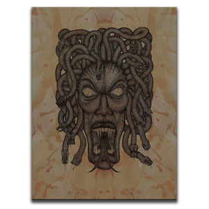 Canvas Wall Art featuring a cross-hatched, horror and dark art image of Medusa's face against a brown blood stained background. Artwork by Broken Babies
