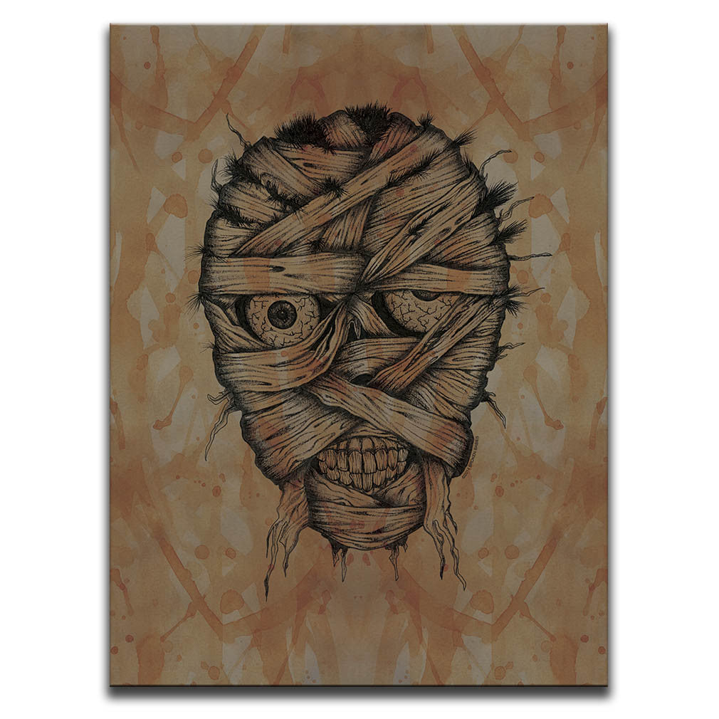 Canvas Wall Art featuring a cross-hatched, horror and dark art image of a mummy's face against a brown blood stained background. Artwork by Broken Babies