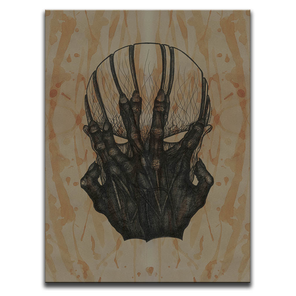Canvas Wall Art featuring a cross-hatched, horror and dark art image of a possessed face against a brown blood stained background. Artwork by Broken Babies