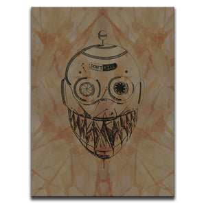 Canvas Wall Art featuring a cross-hatched, horror and dark art image of a robot's face against a brown blood stained background. Artwork by Broken Babies