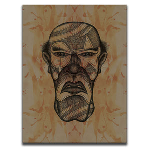 Canvas Wall Art featuring a cross-hatched, horror and dark art image of a serial killer's face wearing clown make-up against a brown blood stained background. Artwork by Broken Babies