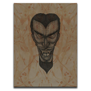 Canvas Wall Art featuring a cross-hatched, horror and dark art image of a vampire's face against a brown blood stained background. Artwork by Broken Babies