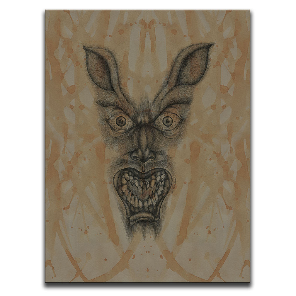 Canvas Wall Art featuring a cross-hatched, horror and dark art image of a werewolf's face against a brown blood stained background. Artwork by Broken Babies