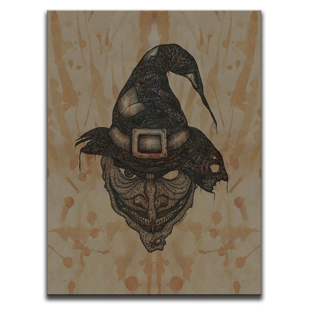 Canvas Wall Art featuring a cross-hatched, horror and dark art image of a witch's face against a brown blood stained background. Artwork by Broken Babies