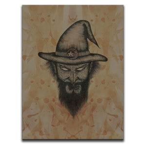 Canvas Wall Art featuring a cross-hatched, horror and dark art image of a wizard's face against a brown blood stained background. Artwork by Broken Babies