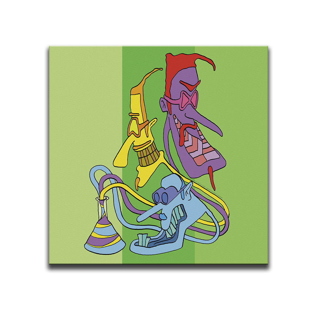 Canvas Wall Art featuring a surreal cartoon image of a three-headed being emerging from a science beaker against a green striped background. Artwork by B.I./O.S.