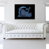 Blue Runner Canvas shown on a wall in a white room with sofa