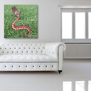 Bugged: Fork Worm Canvas shown on a wall in a white room with sofa
