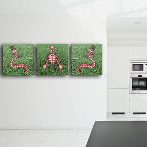Bugged: Two Fork Worms And A Spoon Beetle Canvas triptych shown on a wall in a modern kitchen