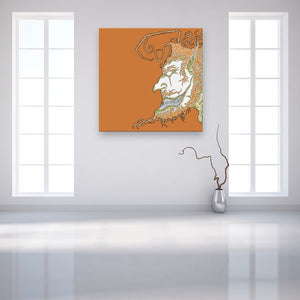 Face Off: Facing Left Orange Canvas shown on a wall in a contemporary white room