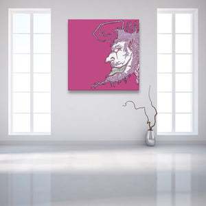 Face Off: Facing Left Pink Canvas shown on a wall in a contemporary white room