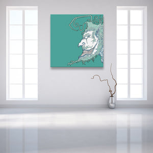 Face Off: Facing Left Turquoise Canvas shown on a wall in a contemporary white room