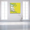 Face Off: Facing Right Yellow Canvas shown on a wall in a contemporary white room