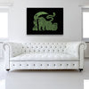 Green Runner Canvas shown on a wall in a white room with sofa
