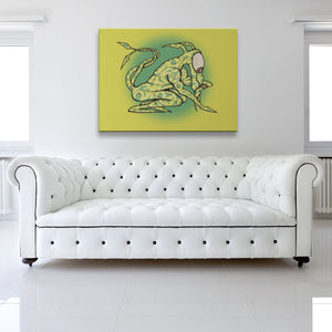 Greengrass The Great Timekeeper Yellow Canvas shown on a wall in a white room with sofa
