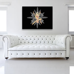 No Clear Threat: Explosion Black Canvas shown on a wall in a white room with sofa