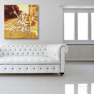 No Clear Threat: Road Canvas shown on a wall in a white room with sofa