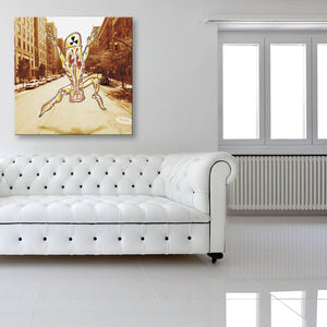No Clear Threat: Street Canvas shown on a wall in a white room with sofa