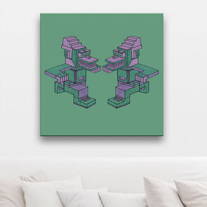 Running Man-A-Man Green And Pink Canvas shown on a wall in a room with cushions