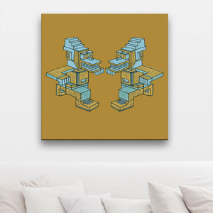 Running Man-A-Man Ochre And Aquamarine Canvas shown on a wall in a room with cushions