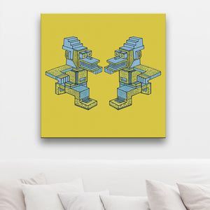 Running Man-A-Man Yellow And Blue Canvas shown on a wall in a room with cushions