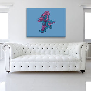 Running Man Blue Rectangular Canvas shown on a wall in a white room with sofa