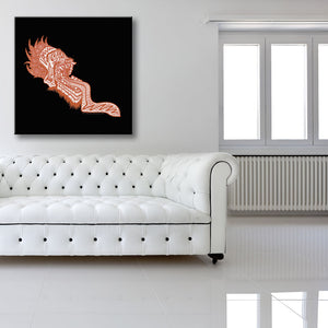 Screaming Red Head Black Canvas shown on a wall in a white room with sofa