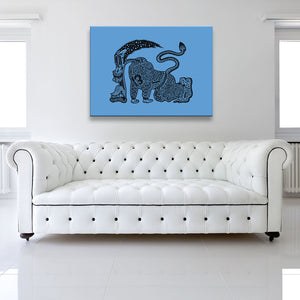 The Runner Blue Canvas shown on a wall in a white room with sofa