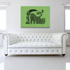The Runner Green Canvas shown on a wall in a white room with sofa