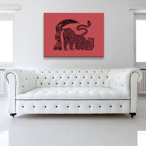 The Runner Red Canvas shown on a wall in a white room with sofa