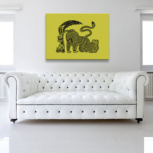 The Runner Yellow Canvas shown on a wall in a white room with sofa