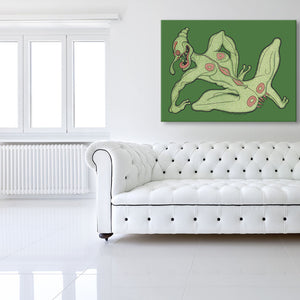 Tulip The Sex Pest Green Canvas shown on a wall in a white room with sofa