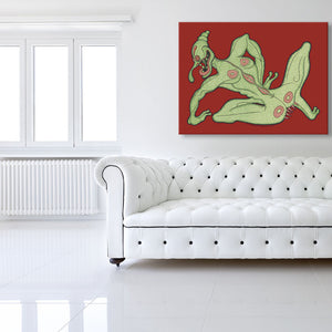 Tulip The Sex Pest Red Canvas shown on a wall in a white room with sofa