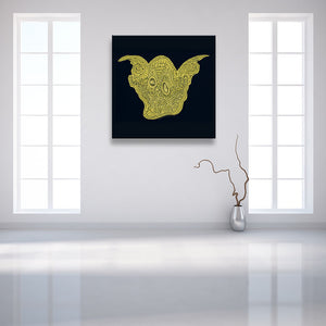 Winning Smile Black Canvas shown on a wall in a modern room with vase
