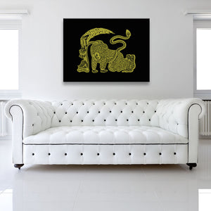 Yellow Runner Canvas shown on a wall in a white room with sofa