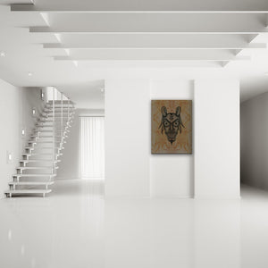 Blood-Stained Faces Of Death Devil Canvas Art shown on a wall in a modern white minimalist room