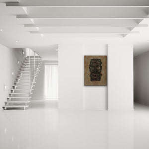 Blood-Stained Faces Of Death Frankenstein's Monster Canvas Art shown on a wall in a modern white minimalist room