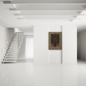Blood-Stained Faces Of Death Medusa Canvas Art shown on a wall in a modern white minimalist room