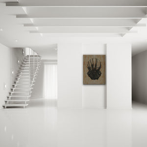 Blood-Stained Faces Of Death Possession Canvas Art shown on a wall in a modern white minimalist room